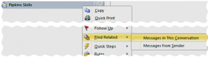 Outlook context menu to find related messages