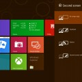 Windows 8 Start screen with projector display options opened