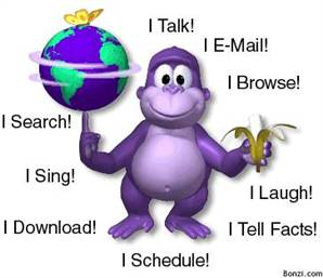 Promo image for Bonzi Buddy. Way worse than that annoying paperclip.
