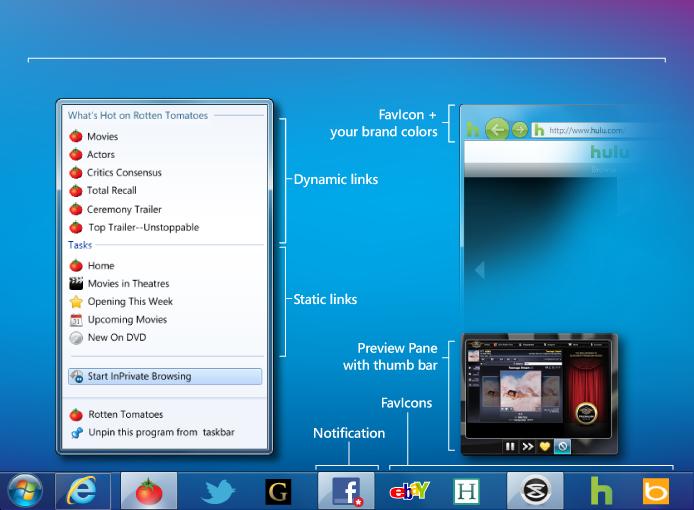 Taskbar-pinned site features from BuildMyPinnedSite.com.