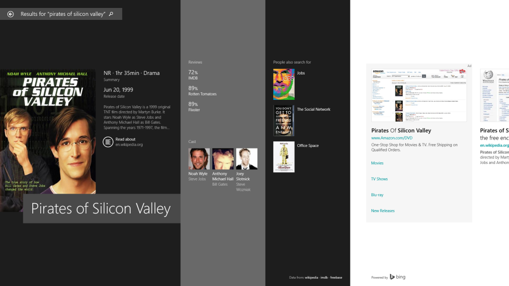 Windows 8.1 Bing search results