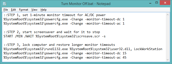 Batch file for turning off monitor