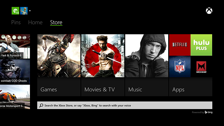 Xbox Bing search home screen
