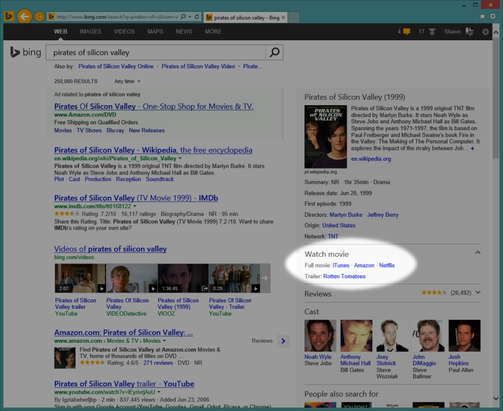 Bing search results showing services that carry a movie title.