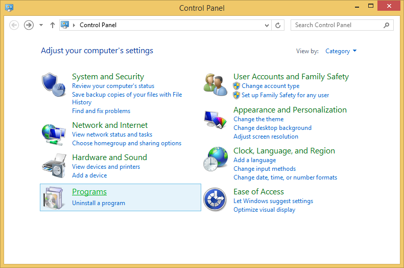 Control Panel with Programs highlighted